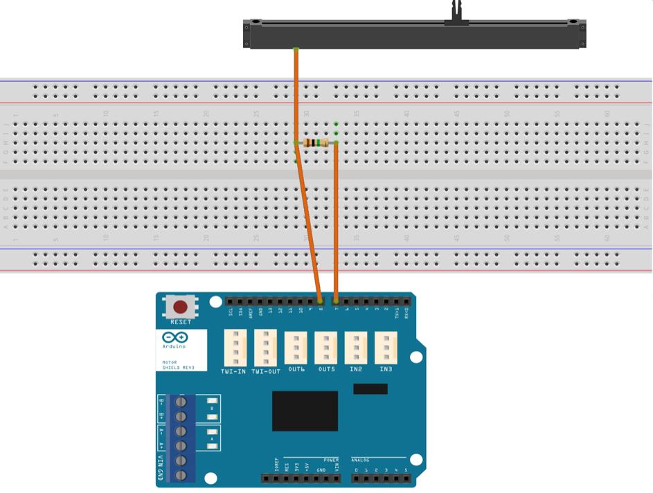 Schématisation du montage électronique faisant intervenir la fonctionnalité «Touch Sens Track».