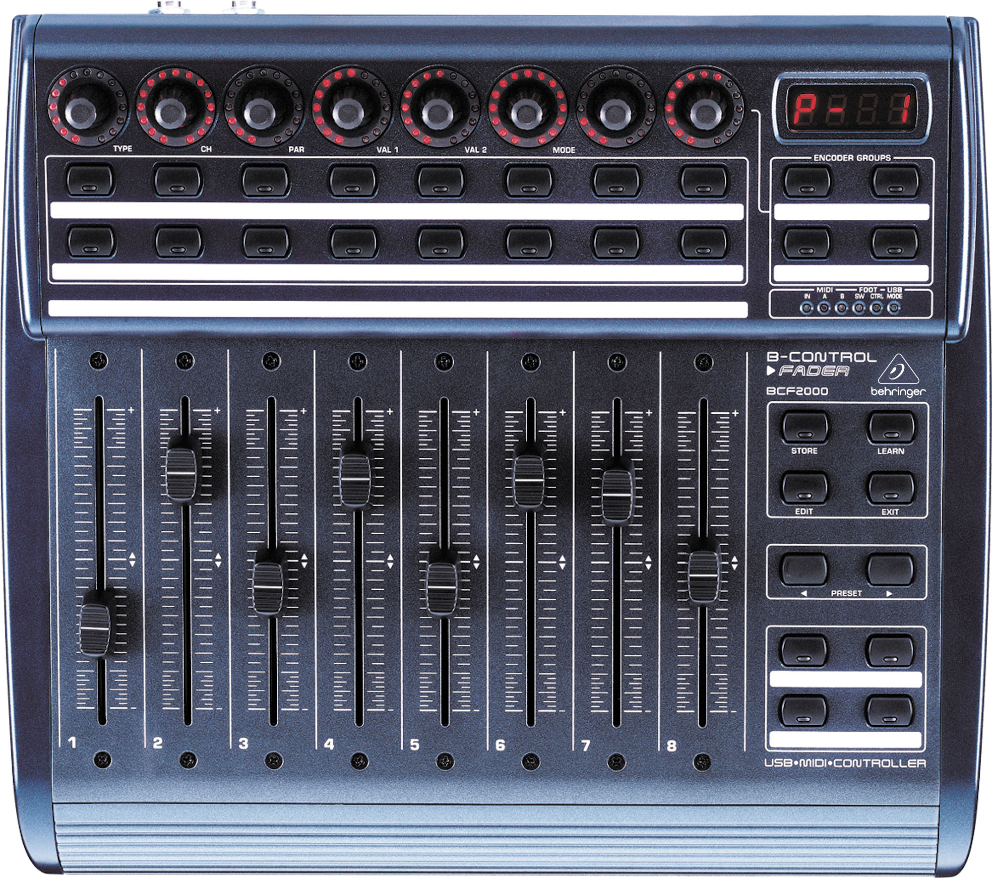 La BCF2000 de Behringer, première interface MIDI abordable intégrant des faders motorisés.