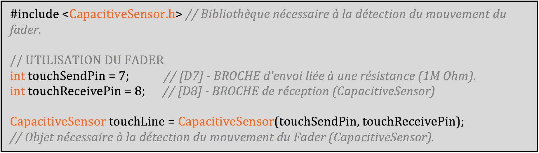 Initialisation de la bibliothèque CapacitiveSensor et de l'objet touchLine.