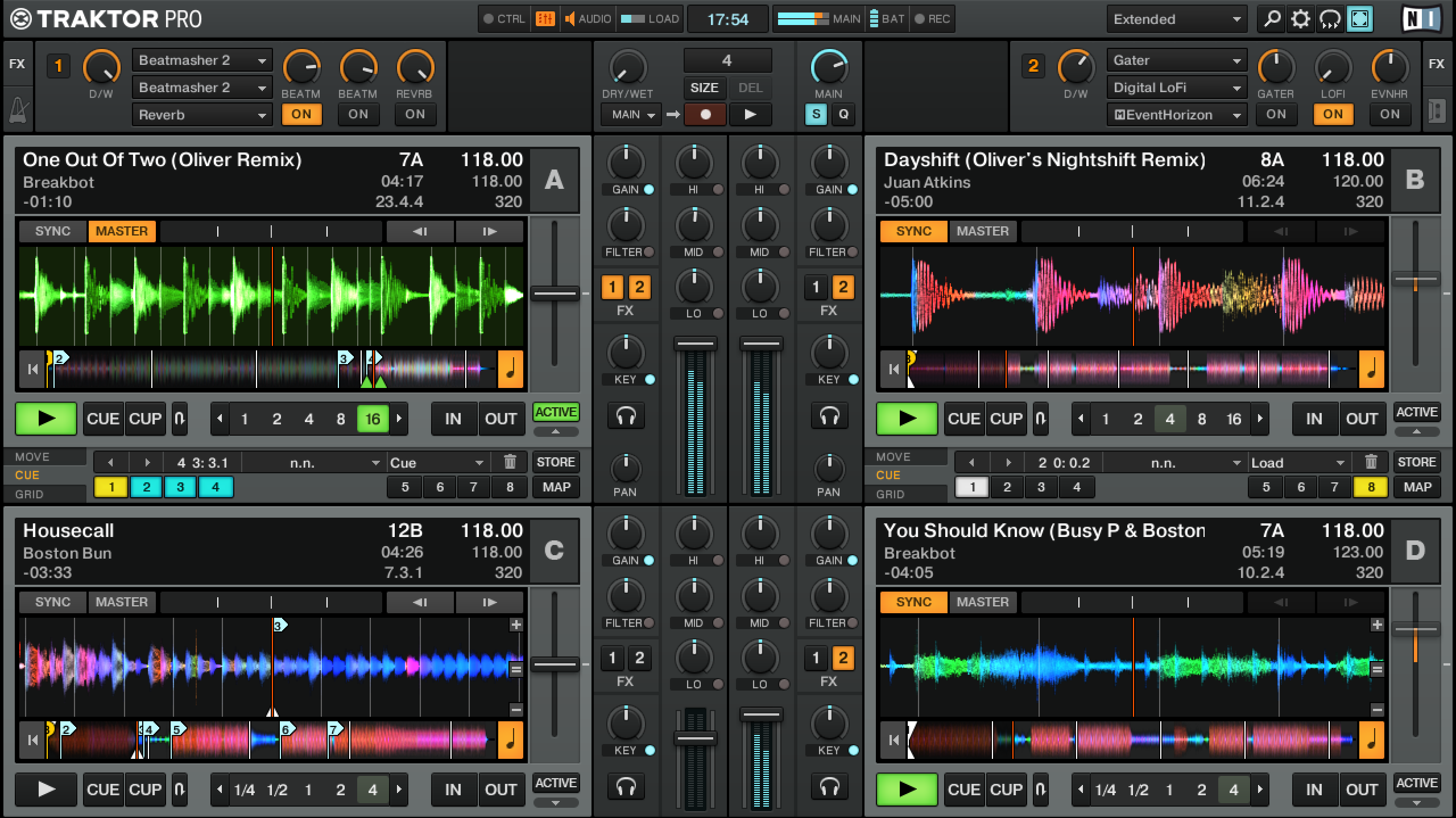 Interface 4 Decks de Traktor.