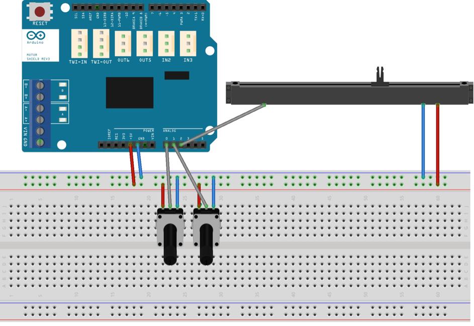 Schématisation du montage électronique faisant intervenir les potentiomètres de position et de vitesse ainsi que le curseur linéaire.