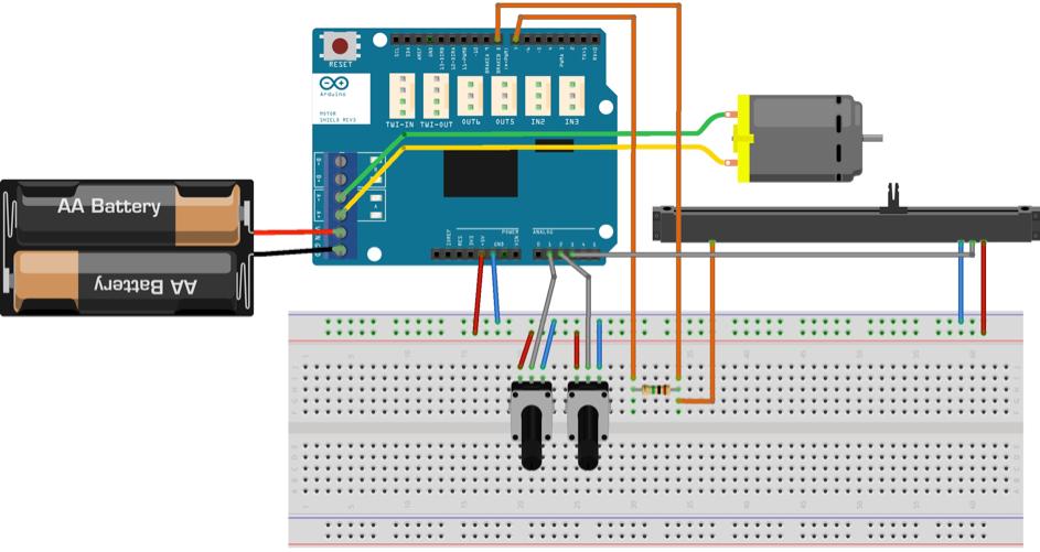 Montage électronique complet permettant l'utilisation et le contrôle du curseur linéaire motorisé PSM01-082A-103B2.